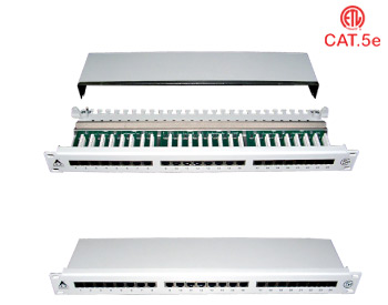 Cat.5 19'' RJ45 Shield Patch Panel : Cat.5e 16 Ports